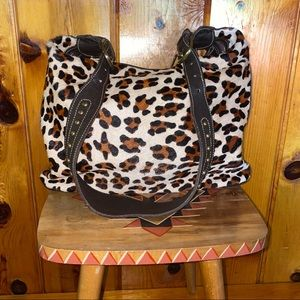 AMERICAN WEST Leopard Print Cowhide Leather Bag